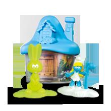 Светло-синий домик со Смурфиками